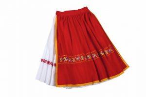 Biela sukňa, červená zásterka - úzky venček