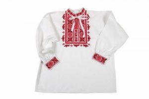 Košeľa s červeno-čiernou výšivkou