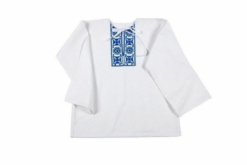 Košeľa s jednoduchou modrou výšivkou