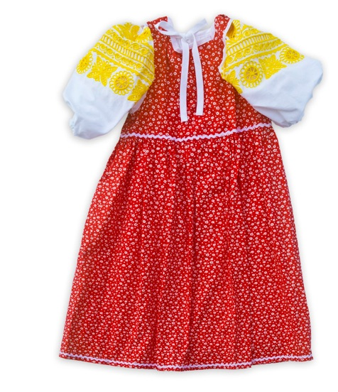 Červené dievčenské šaty a blúzka so žltou výšivkou